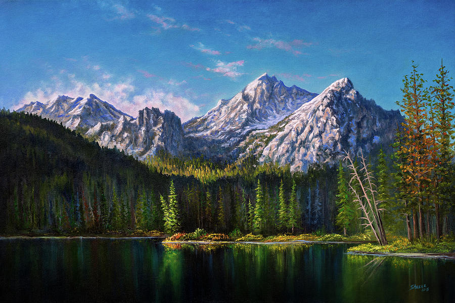 Stanley Painting - Stanley Lake Reflections by Chris Steele