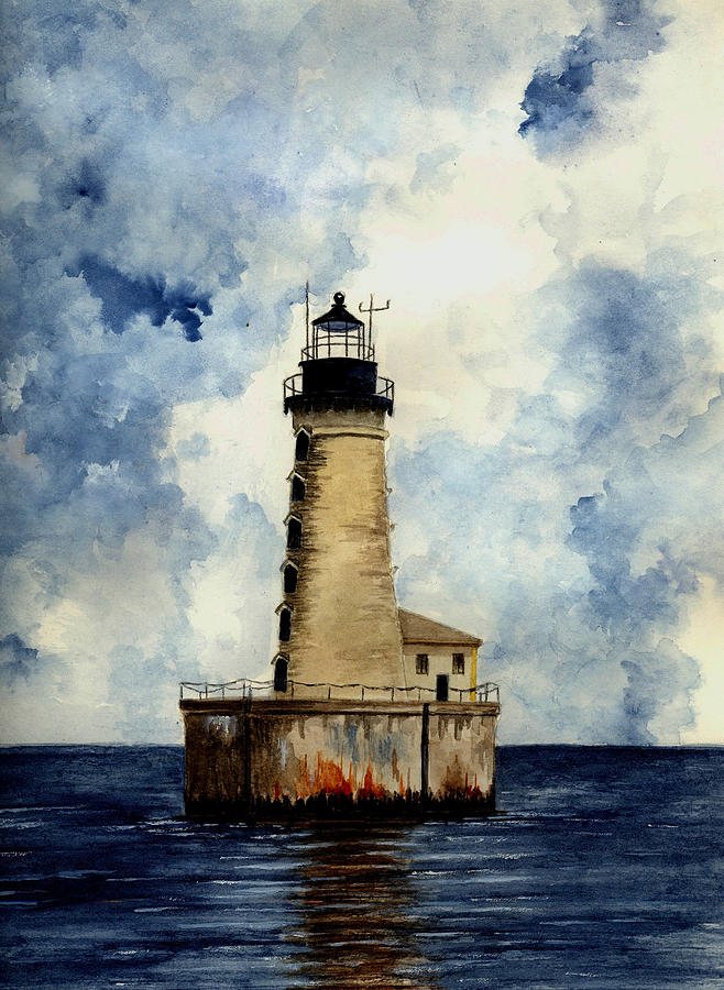 Lighthouse Painting - Stannard Rock Lighthouse by Michael Vigliotti