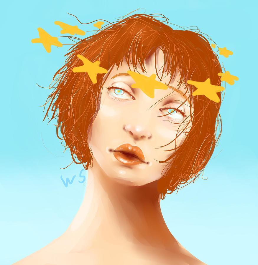 Woman Digital Art - Star Eyed by Willow Schafer