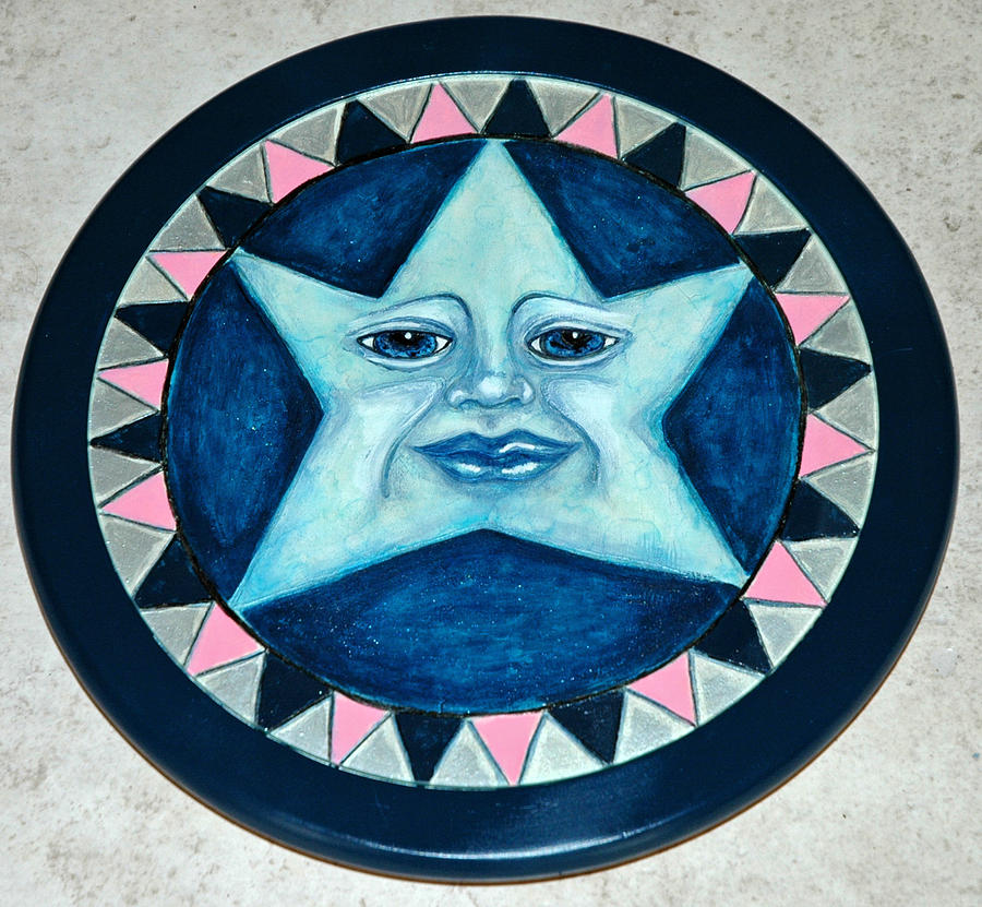 Star Face Lazy Susan Mixed Media by Mickie Boothroyd