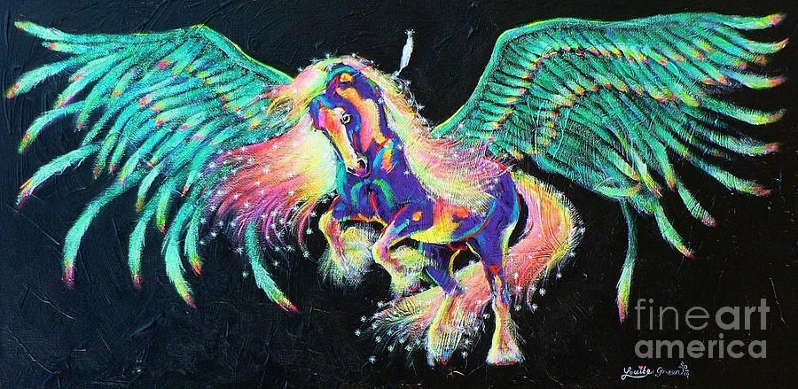 Pegasus Mixed Media - Star Feather Pony by Louise Green