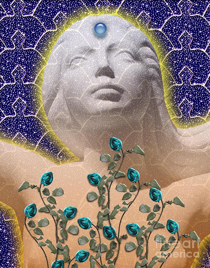 Girl Digital Art - Star Goddess by Keith Dillon