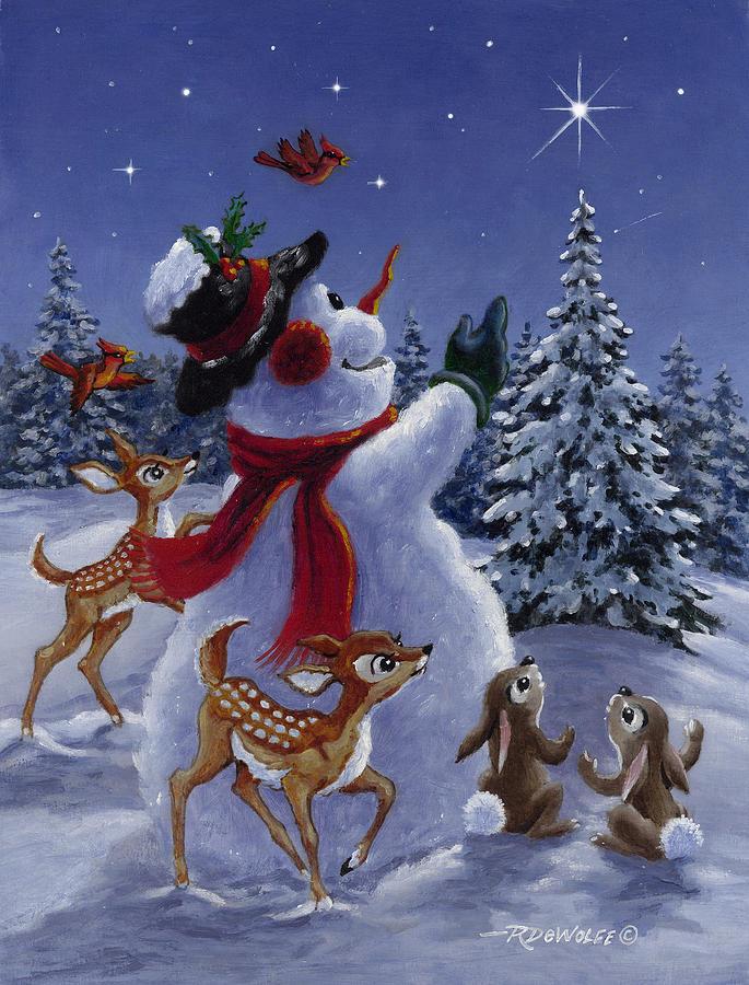Snowman Painting - Star Of Wonder by Richard De Wolfe