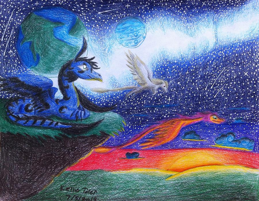 Dragon Drawing - Star Rise by Kellie Toler