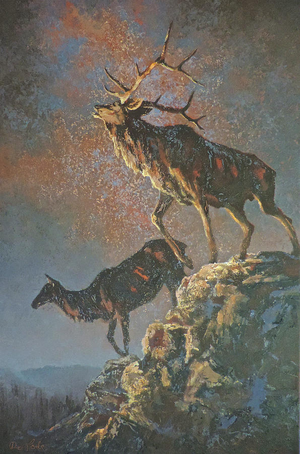 Elk Painting - Star Spangled Bugle by Mia DeLode