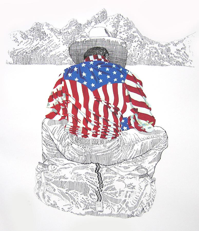 Cowboy Print - Star Spangled Cowboy by Martin Goldman