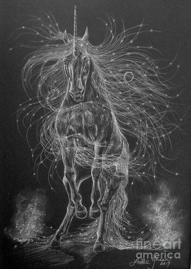 Unicorn Drawing - Star Spirit by Louise Green