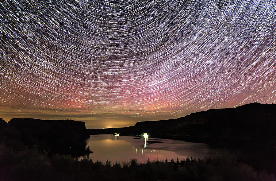 Lake Photograph - Star Trails And Aurora At Billy Chinook by Cat Connor