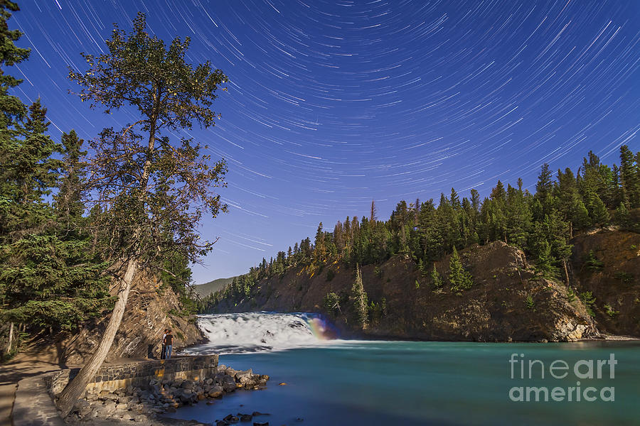 Alberta Photograph - Star Trails And Moonbow Over Bow Falls by Alan Dyer