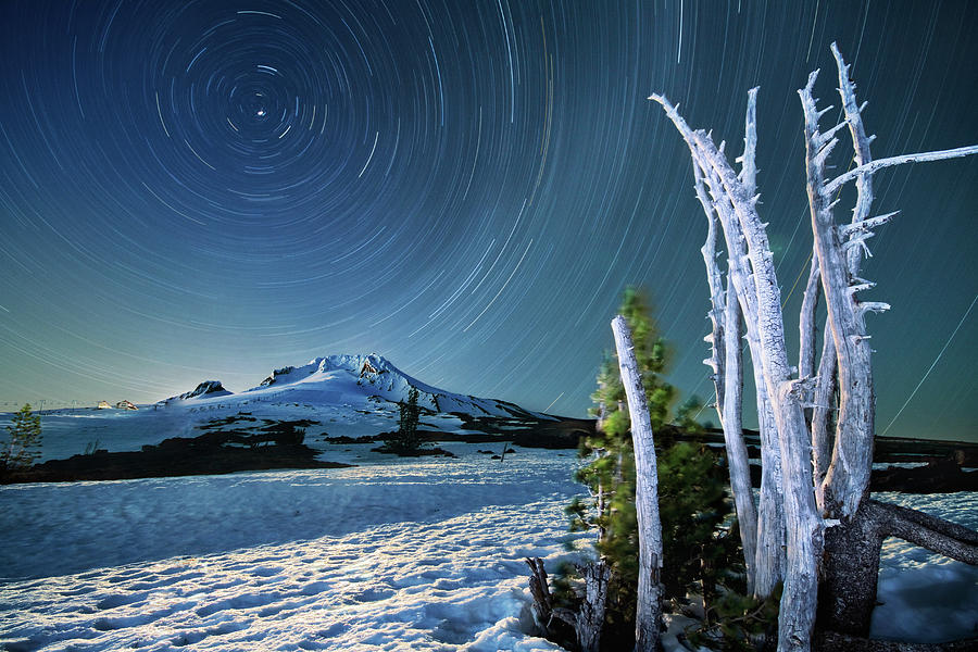 Landscape Photograph - Star Trails Over Mt. Hood by William Freebilly photography