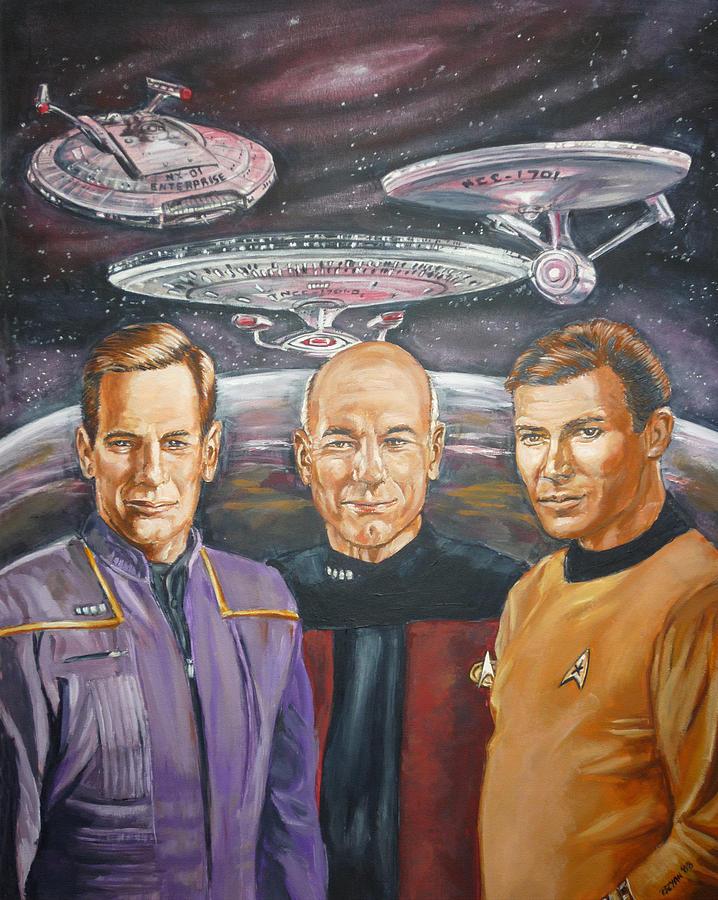 Star Trek Painting - Star Trek Tribute Enterprise Captains by Bryan Bustard