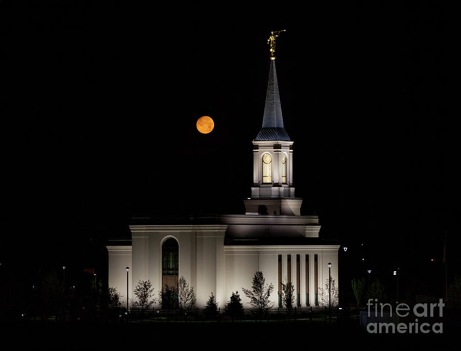 Family Photograph - Star Valley Wyoming Temple -  Grain Harvest Moon by Bret Barton