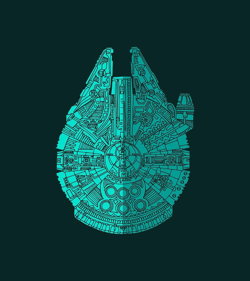 Millennium Mixed Media - Star Wars Art - Millennium Falcon - Blue 02 by Studio Grafiikka