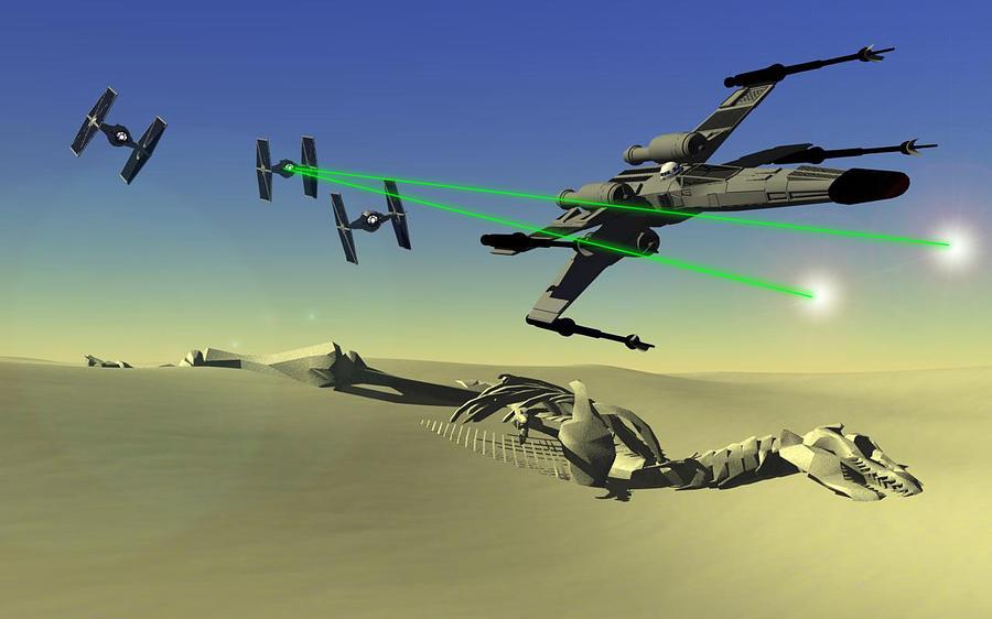 Starwars Digital Art - Star Wars by Michael Greenaway