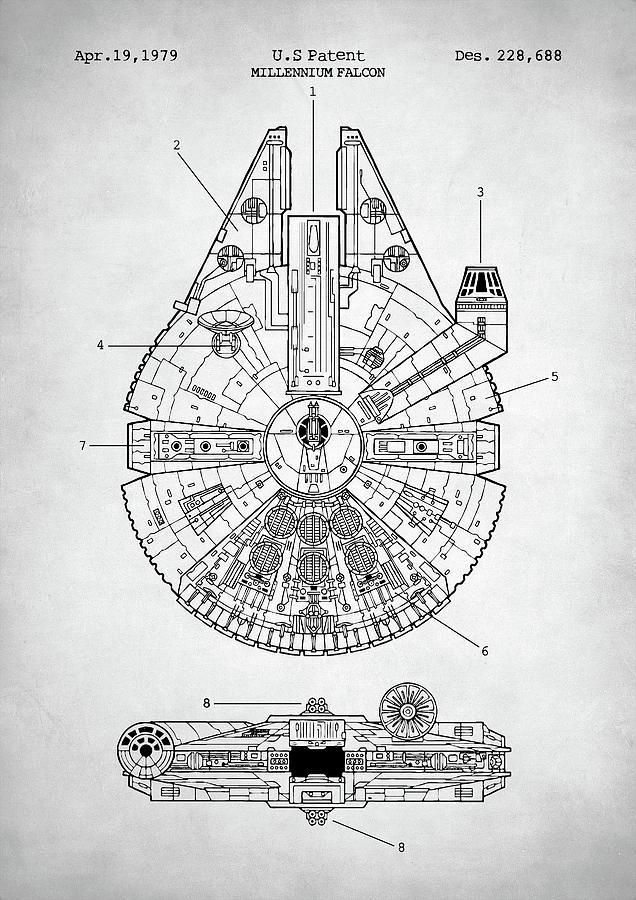 Star Wars Millennium Falcon Patent Art Print