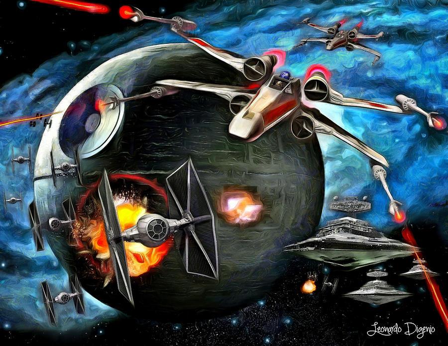 Star Wars 7 Painting - Star Wars Worlds At War by Leonardo Digenio