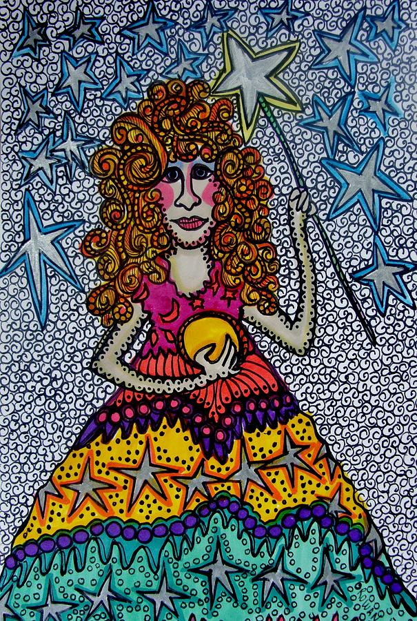 Stars Drawing - Star Wish  Fairy by Gerri Rowan