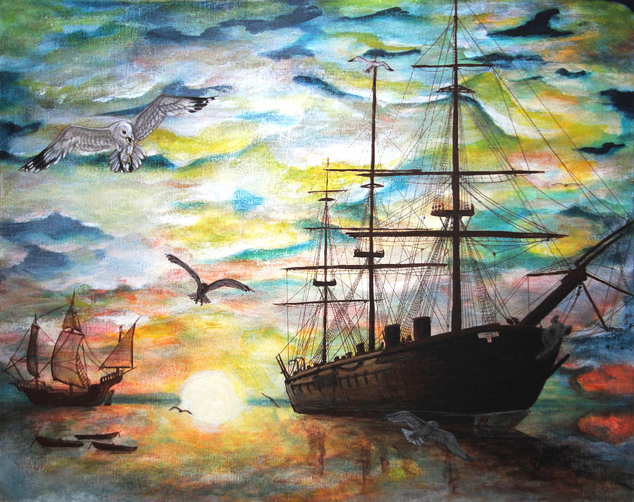 Ships Painting - Starboard Flight by Vallee Johnson
