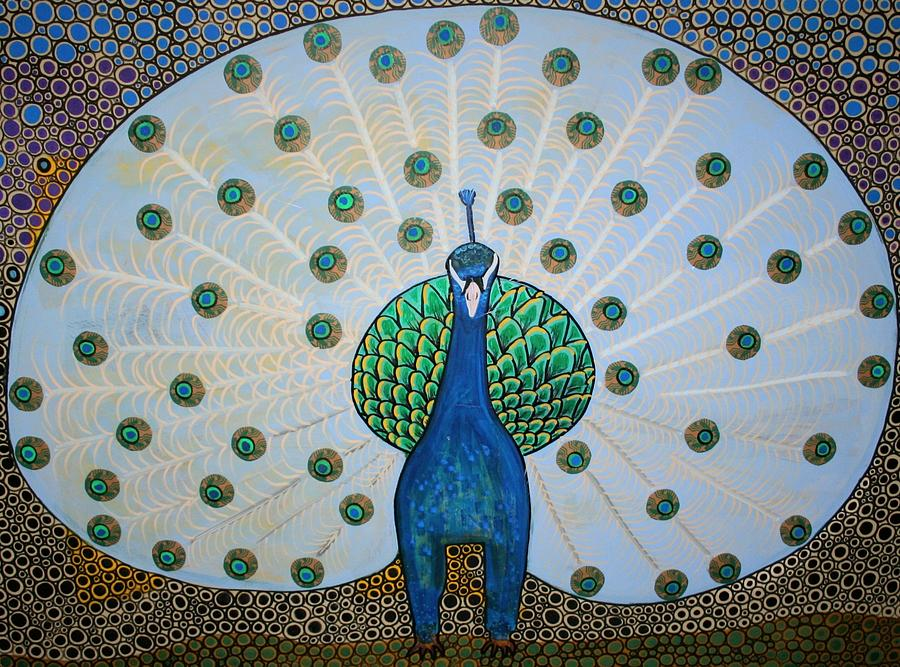 Peacock Painting - Starbucks Peacock  by Rick Cheadle