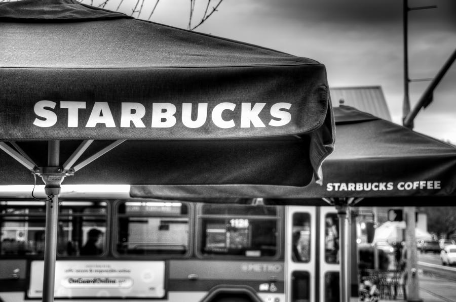 Starbucks Photograph - Starbucks Umbrella by Spencer McDonald