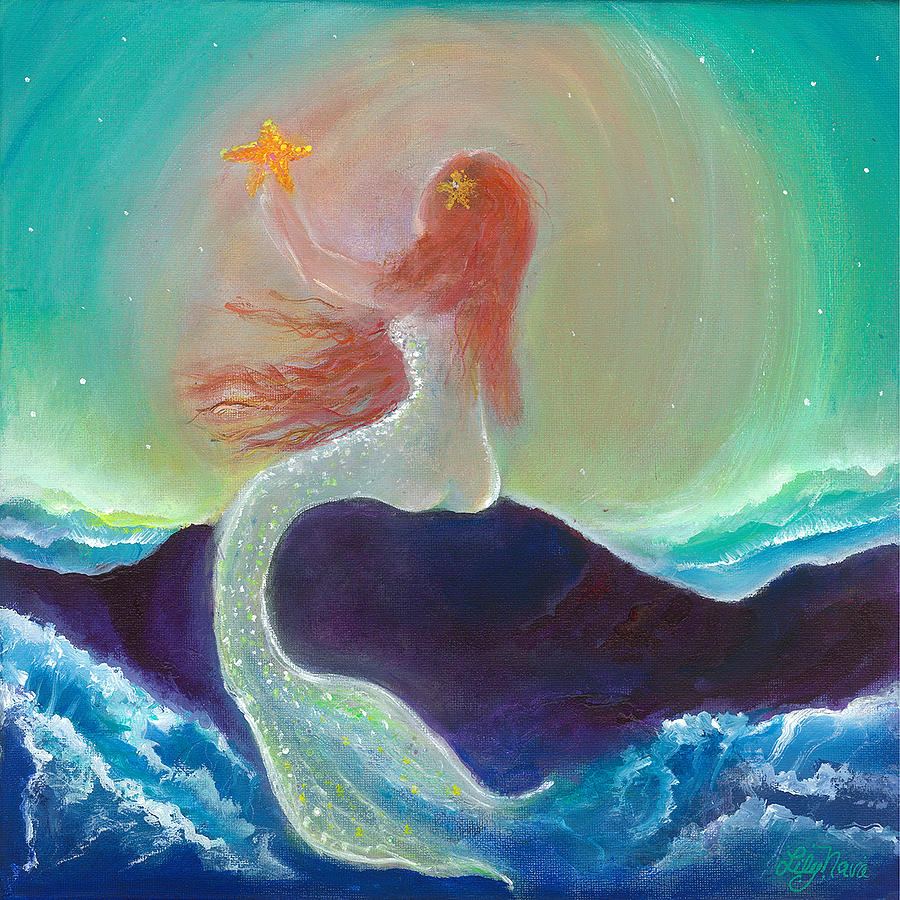 Mermaid Painting - Starfish Mermaid by Lily Nava