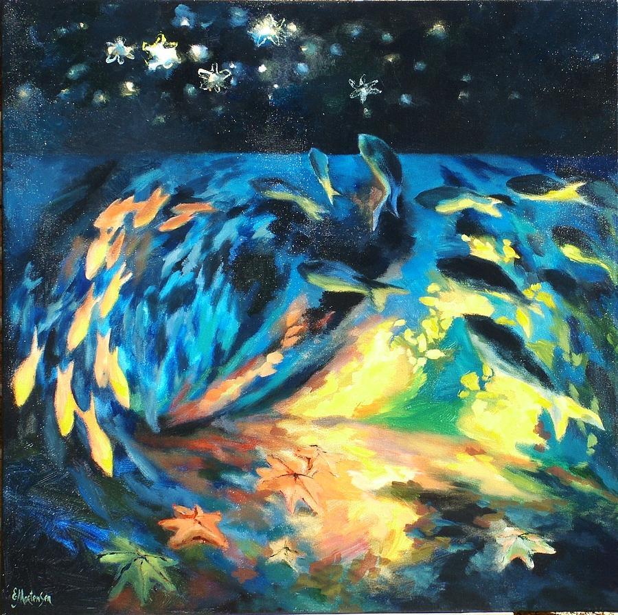 Starfish Painting - Starfish Night by Ekaterina Mortensen