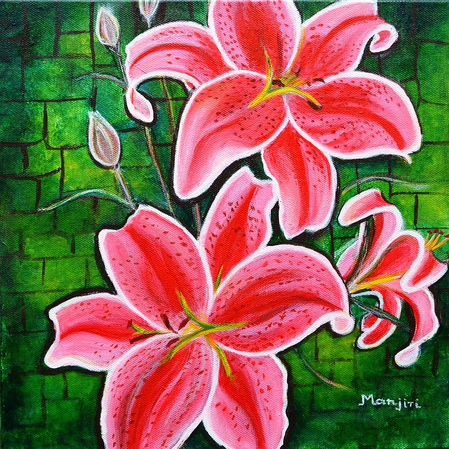 Stargazer Lilies Bold And Vibrant Floral Painting On Canvas Painting