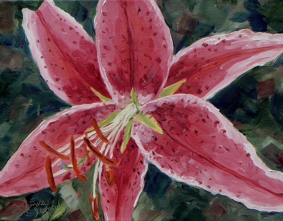 Original Painting - Stargazer Lily by Monica Ironside