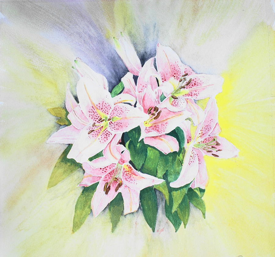 Lilies Painting - Stargazers  1 by Frank Hamilton