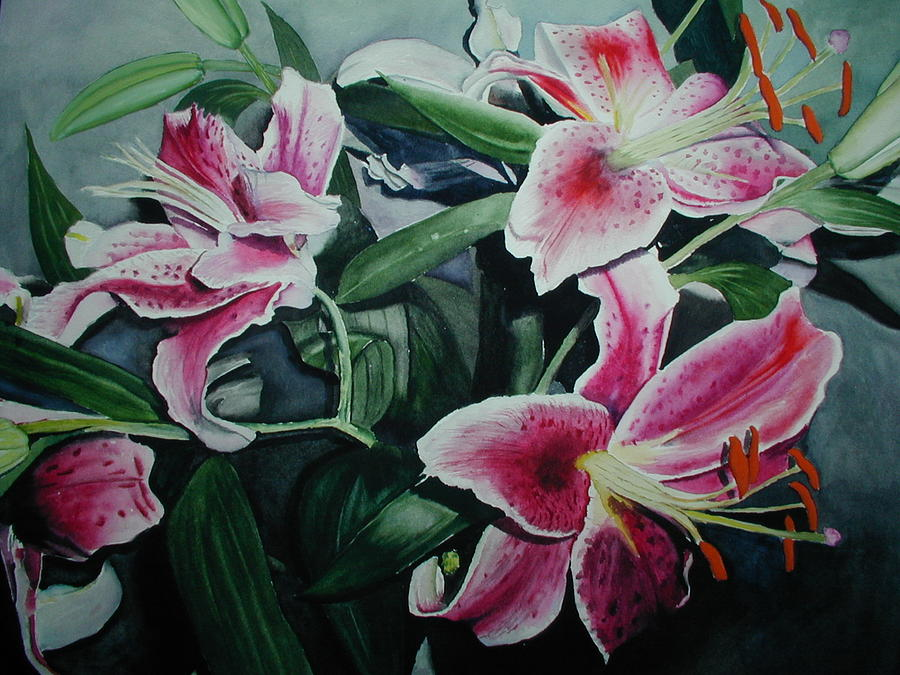 Flowers Painting - Stargazers by Dwight Williams