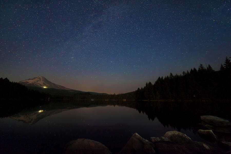 Trillium Lake Photograph - Stargazing At Trillium Lake by David Gn