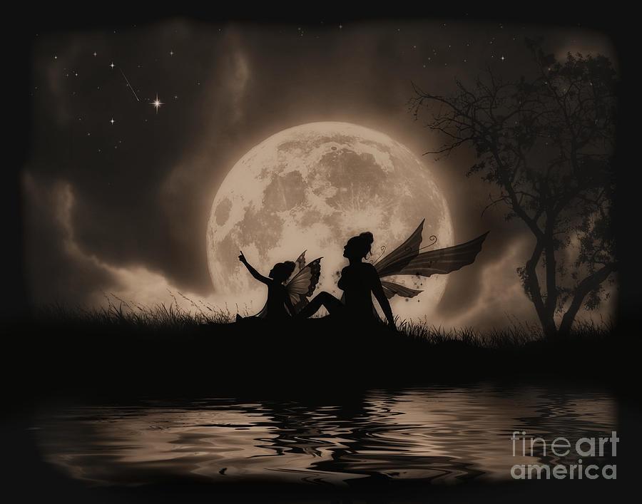 Fairy Digital Art - Stargazing by Julie Fain