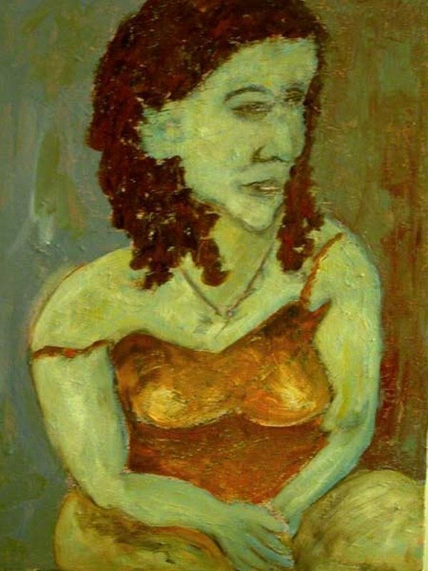 Portrait Painting - Staring Woman by Mauro Longordo