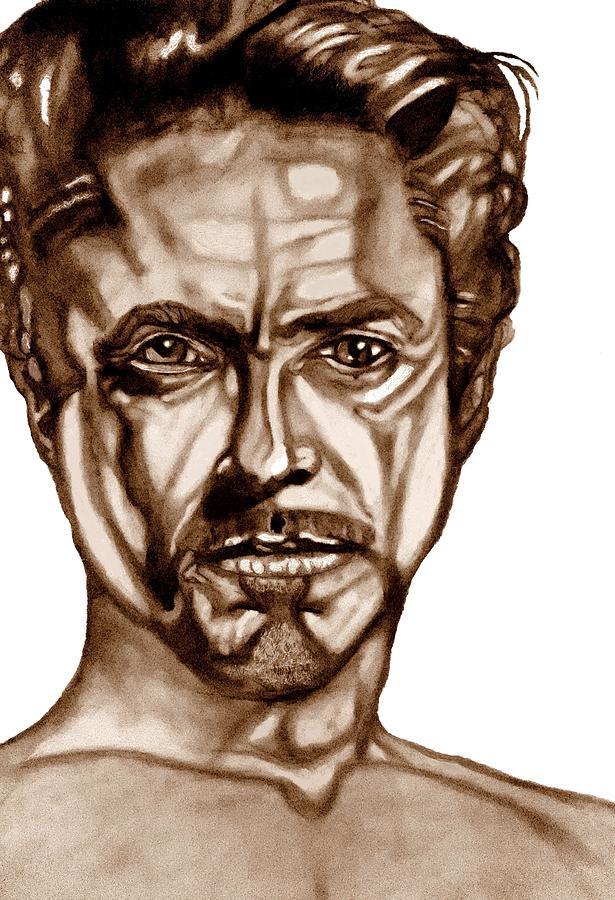 Robert Downey Jr. Drawing - Stark Naked-iron Man by Herbert Renard