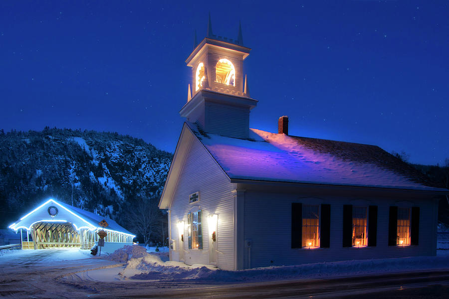 Stark NH Covered Bridge and White Church in Winter by Joann Vitali
