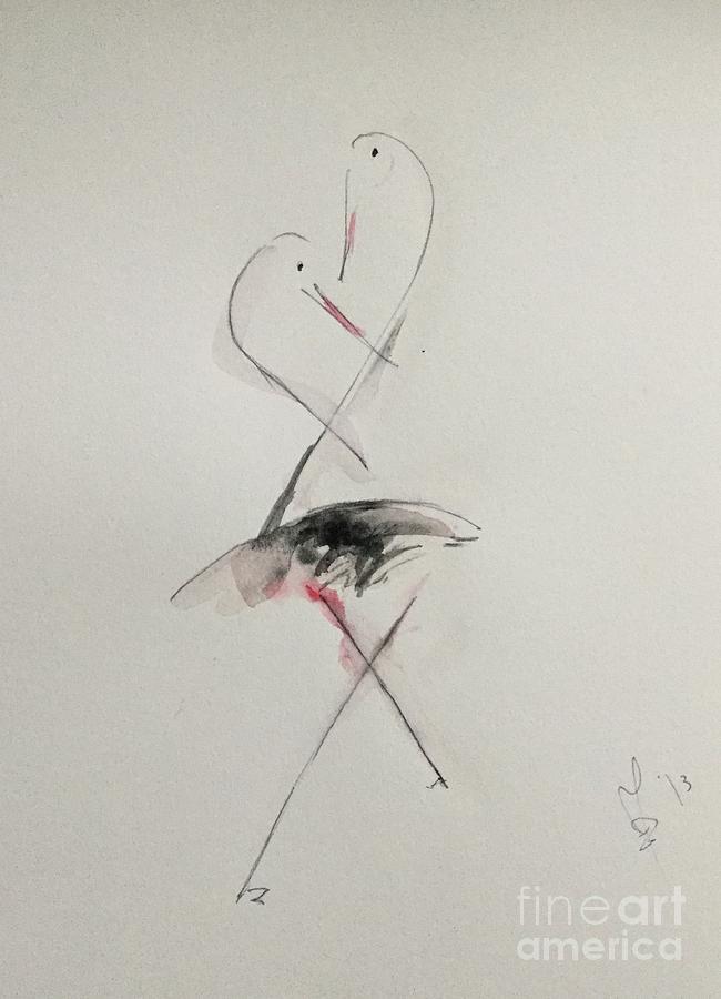 Storks Conversations Mixed Media