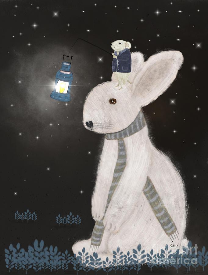 Rabbits Painting - Starlight  by Bri Buckley