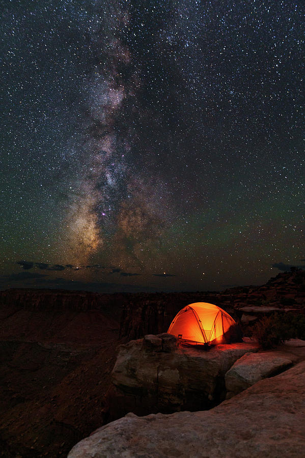 Starlight Camping On The Canyon Edge Photograph
