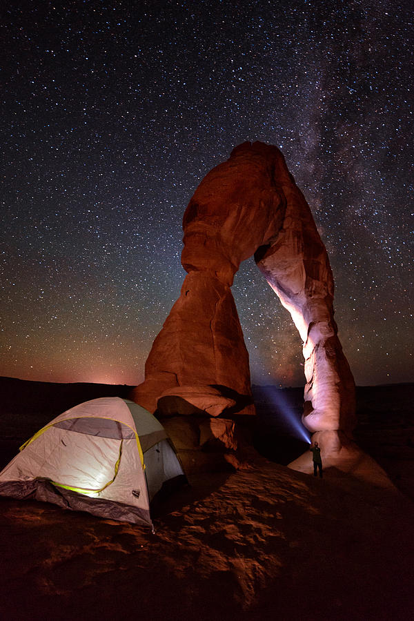 All Rights Reserved Photograph - Starlight Tent Camping At Delicate Arch by Mike Berenson