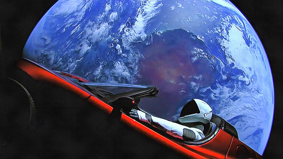 Starman in Tesla with planet earth by SpaceX