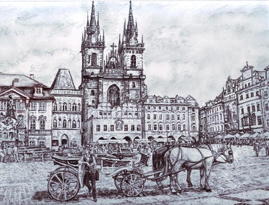 Prague Drawings Drawings Drawing - Staromestske Namesti by Gordana Dokic Segedin