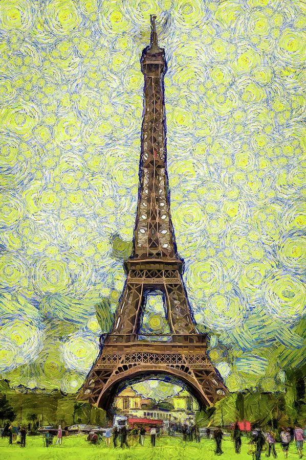 Starry Eiffel Tower Digital Art