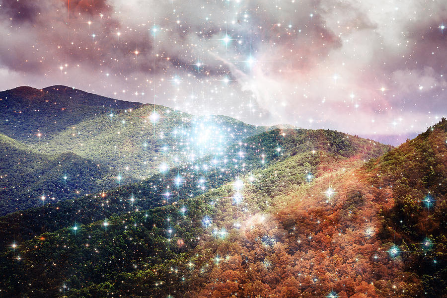 Starry Mountain View from Lookout Mountain Black Mountain NC by Mela Luna