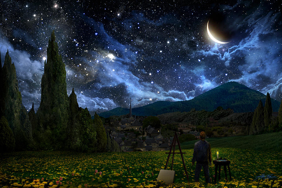 Van Gogh Digital Art - Starry Night by Alex Ruiz