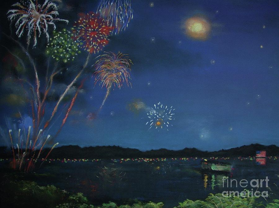 4th Of July Pastel - Starry Night At Crooked Creek Marina by Jackie Hill