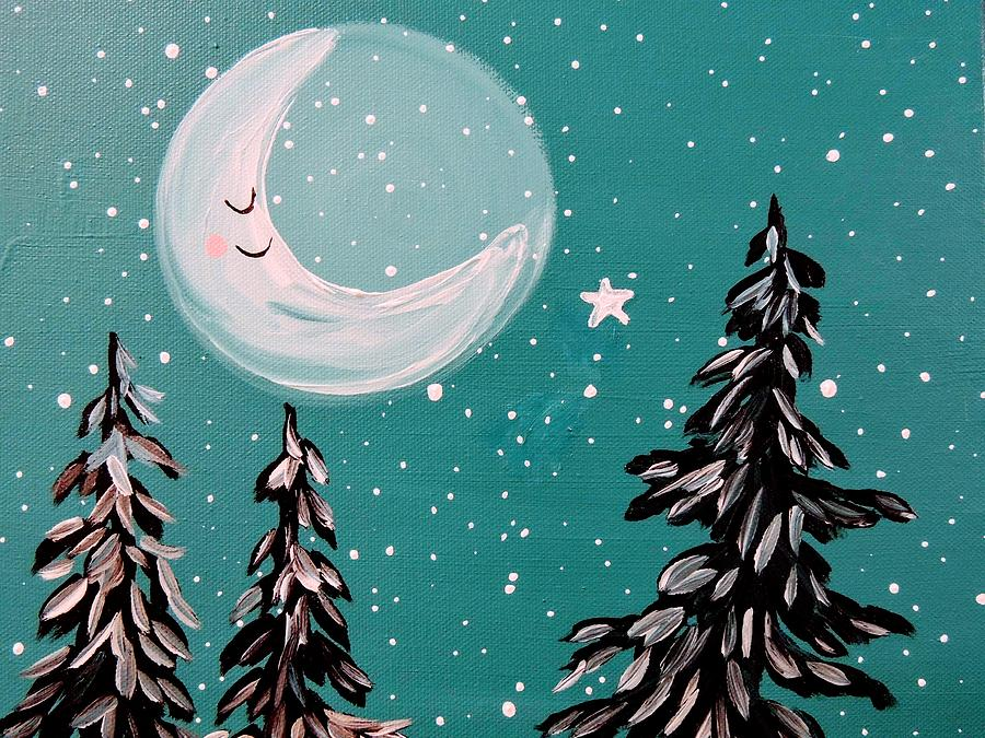Moon Painting - Starry Night Crescent Moon  by Hillary Wooten