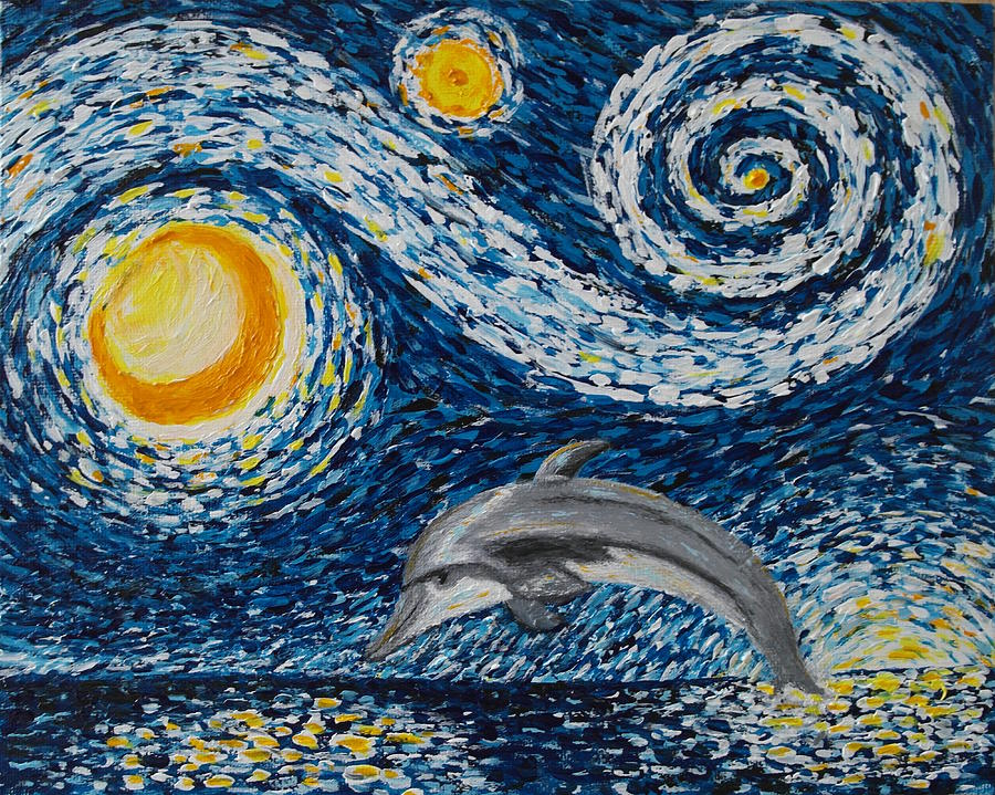 Atmosphere Painting - Starry Night Dolphin by Wayne Cantrell