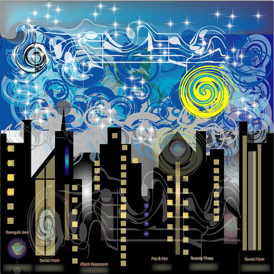 Jazz Digital Art - Starry Night by George Pasini