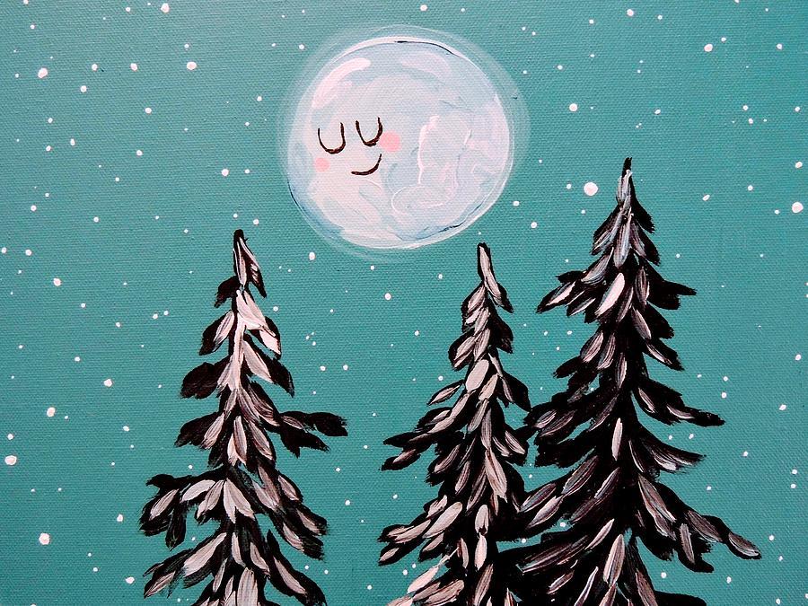 Stars Painting - Starry Night Moon  by Hillary Wooten
