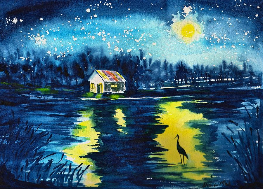 Starry Night Painting By Sharon Mick
